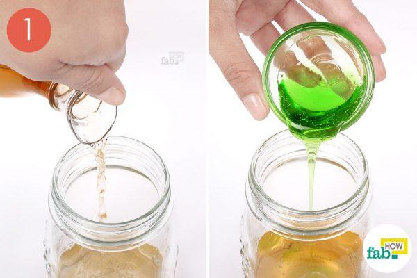 Pour ACv and dish soap in a glass jar
