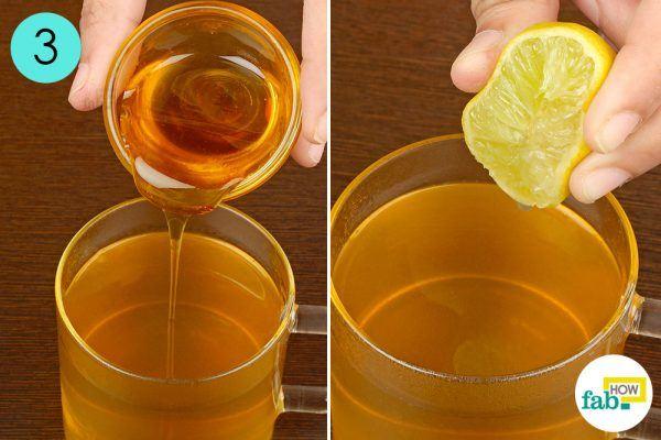 blend in honey and lemon