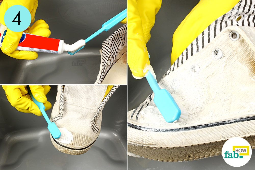 Put Toothpaste On Your Toothbrush And Rub It Dirty Shoes