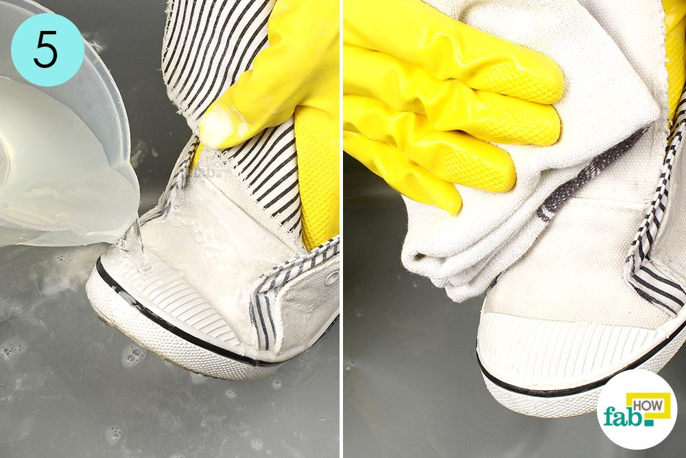 how to remove yellow stains from white shoes using