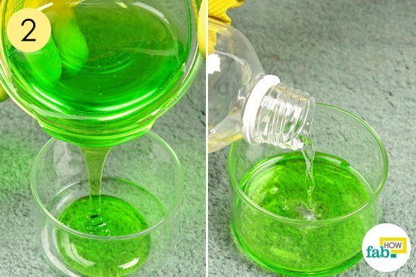 combine dish soap and rubbing alcohol