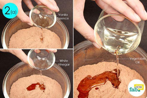 add vanilla essence and white vinegar to make chocolate mug cake