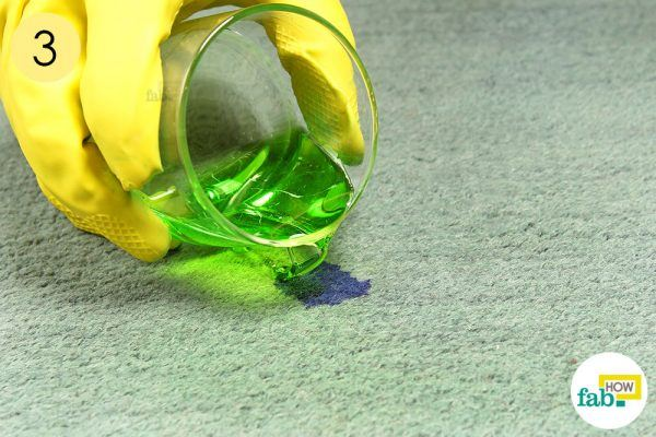 cover the stain with cleaning solution