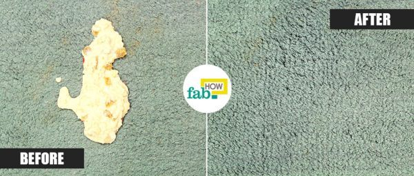 clean vomit stains from carpet before/after