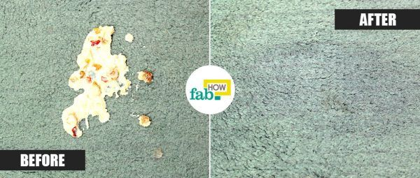 corn starch to remove vomit stain from carpet before after