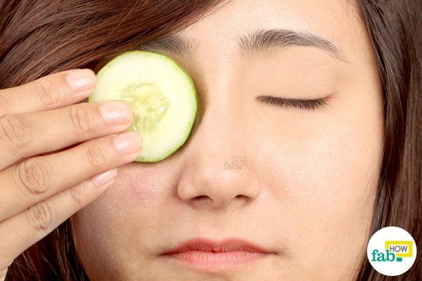 cover your eyes with cucumber slices for eyebags
