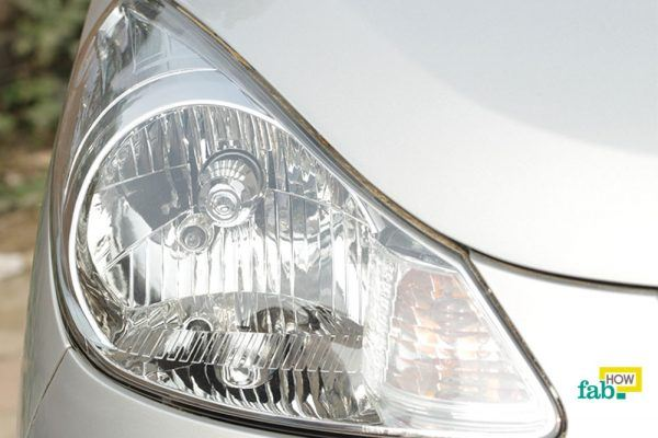 clean foggy car headlight