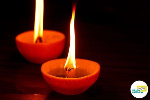 homemade candle using fruit peel