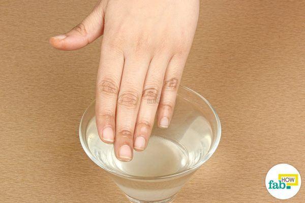 soak your hands in salt water