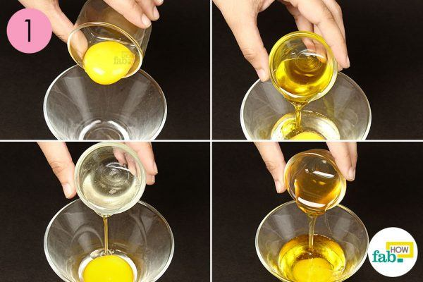 mix eggs, olive oil, coconut oil and honey for wrinkles