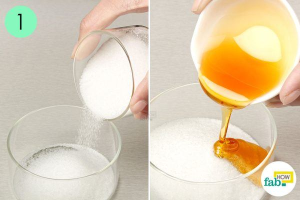 take sugar and honey in a bowl for unwanted facial hair
