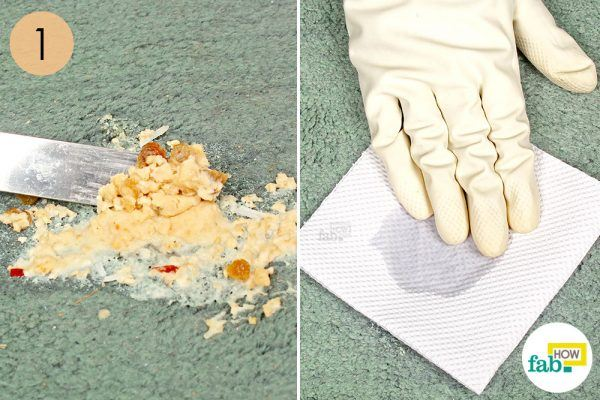 scrape and blot vomits stains on carpet