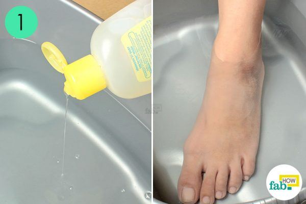 soak your feet in soapy solution