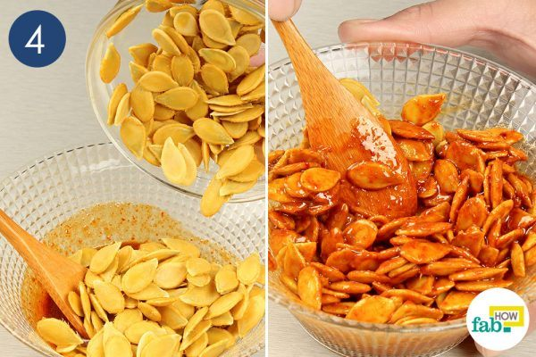 coat the pumpkin seeds with the mixture