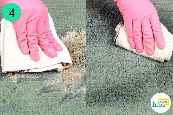 mop dry the carpet until clean