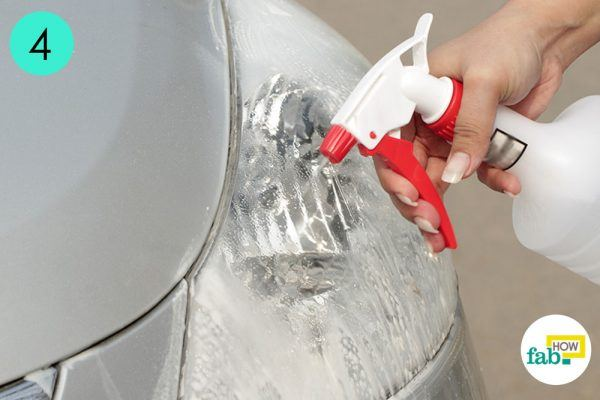 rinse it with water to clean car headlight