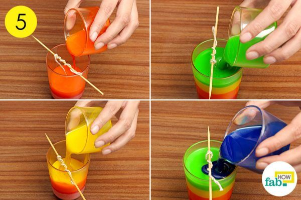pour in additional layers of colored wax