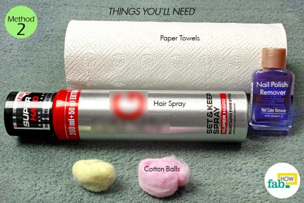 hair spray to remove nail stain from carpet