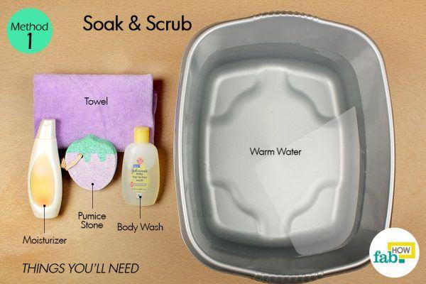 soak and scrub to heal cracked heels things need
