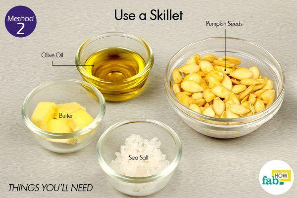 roast pumpkin seeds using a skillet things need