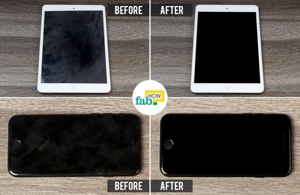 before and after cleaning iphone and ipad screen
