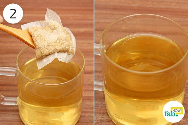 remove tea bag and drink sage tea for facial sweating