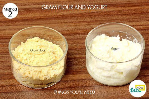 gram flour and yogurt paste to remove suntan things need