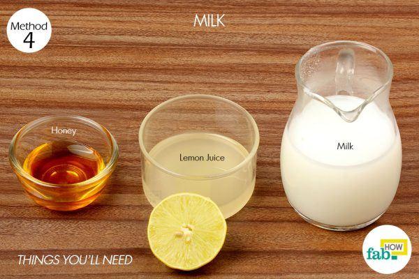 milk, lemon and honey paste for suntan things need