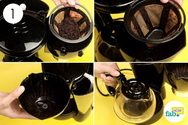 empty the filter and carafe of coffee maker