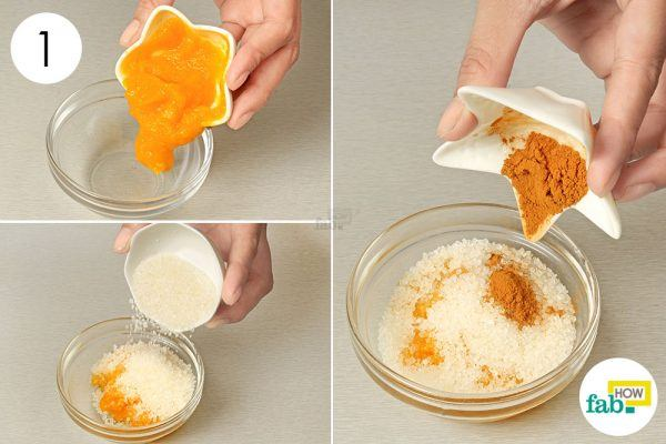 add cinnamon, sugar and pumpkin puree for glowing skin