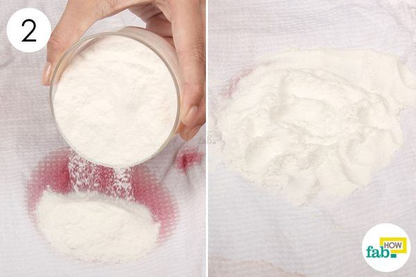 cover the red wine stain with baking soda