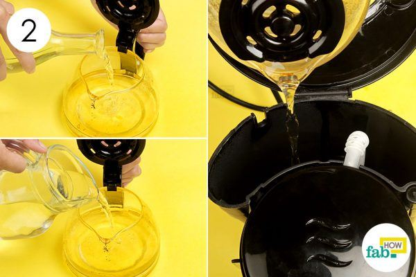make a vinegar solution to clean coffee maker
