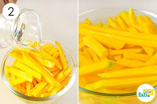 soak the sliced pumpkin in water