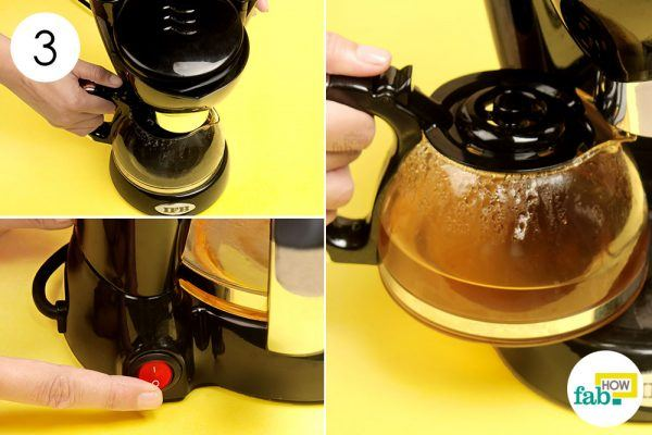 brew the vinegar solution to clean coffee maker
