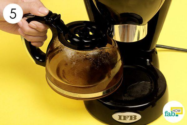 brew plain water to clean coffee maker