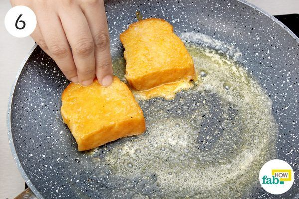 place bread in skillet to make pumpkin toast non vegan