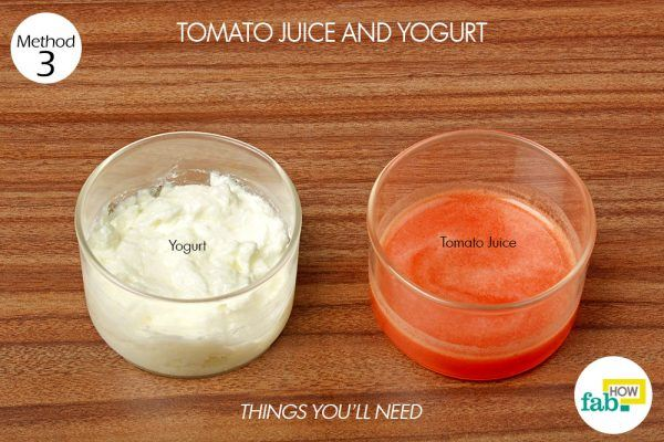 tomato and yogurt to remove suntan things need