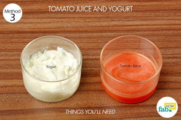tomato and yogurt to remove suntan things need
