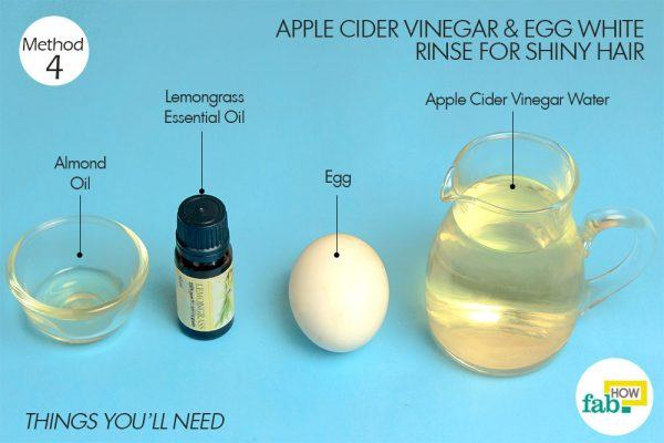 acv and egg white for shiny hair