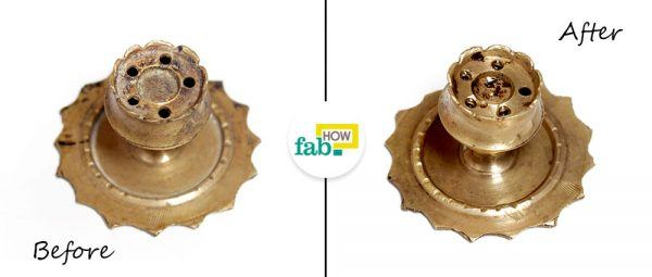 before after clean brassware lemon and salt