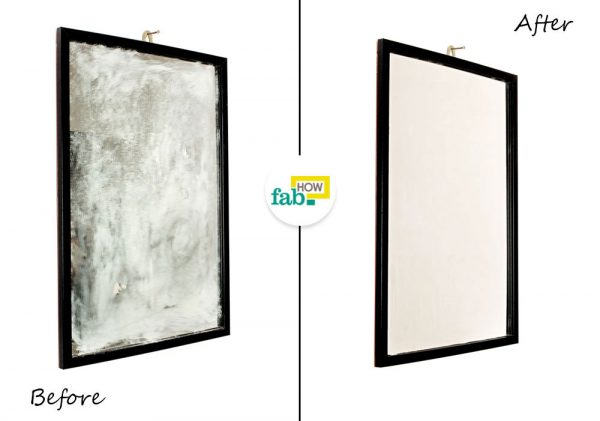 before and after cleaning cloudy mirror with white vinegar