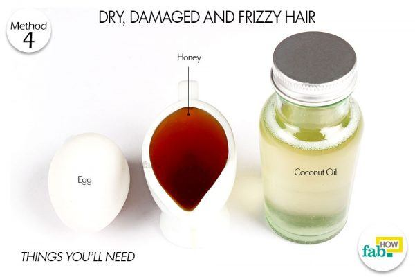 coconut oil honey egg for dry, damaged and frizzy hair
