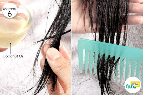 comb out the tangles using coconut oil