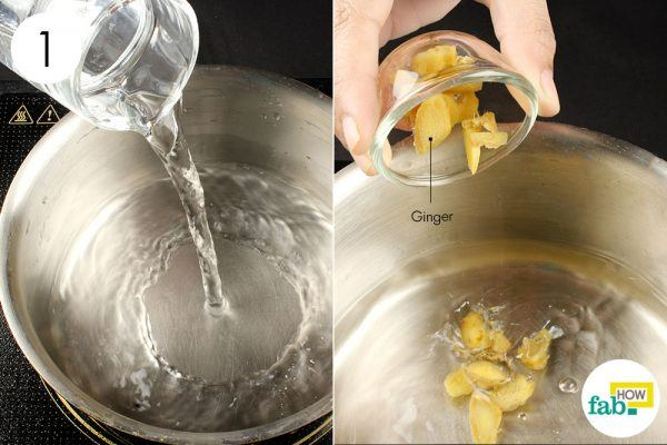 combine ginger and water for gas and bloating