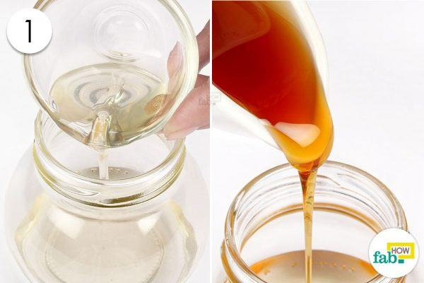 pour coconut oil and honey in a bowl for deep conditioning