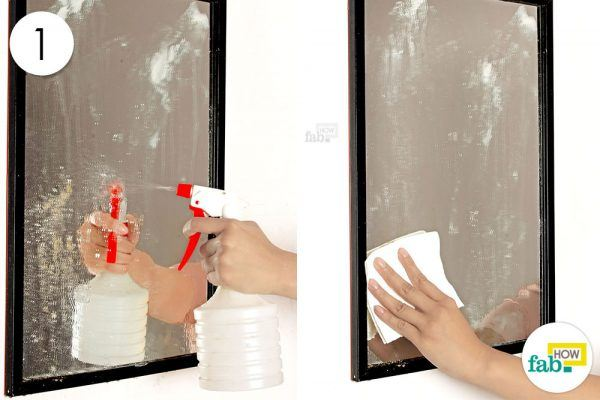 spray water on miror and wipe clean with paper towels