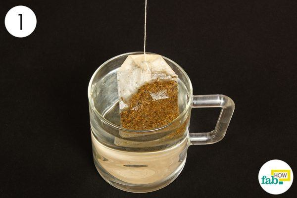 steep the tea bag in water for stuffy nose