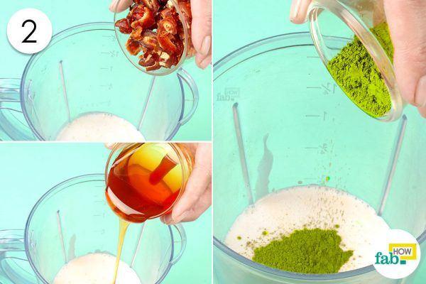 add dates, maple syrup and matcha tea powder