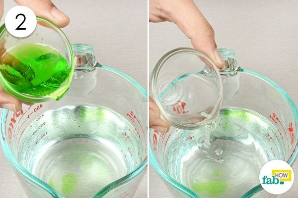 mix in dish soap and vinegar to get rid of spiders