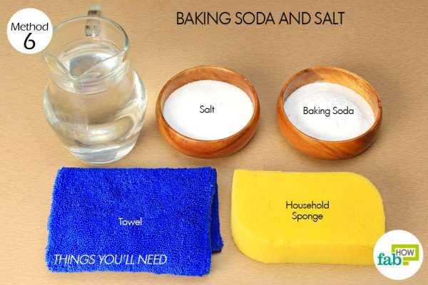 things you'll need to use salt and baking soda to remove red wine stain